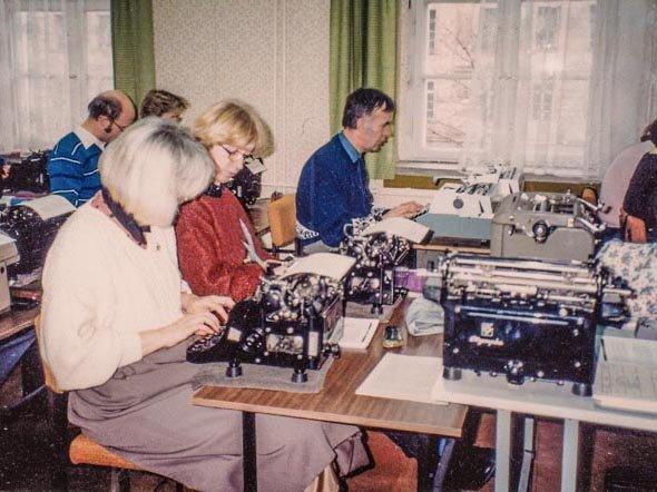 Blick ins Schreib maschinenkabinett 1991 Frühjahr(c)privat C. Kruger